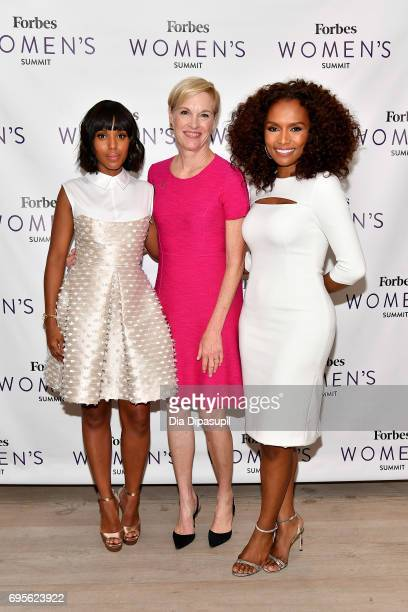 Kerry Washington Cecile Richards and Janet Mock attend the 2017 Forbes Women's Summit at Spring Studios on June 13 2017 in New York City