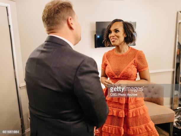Kerry Washington chats in the green room with James Corden during 'The Late Late Show with James Corden' Tuesday March 7 2017 On The CBS Television...