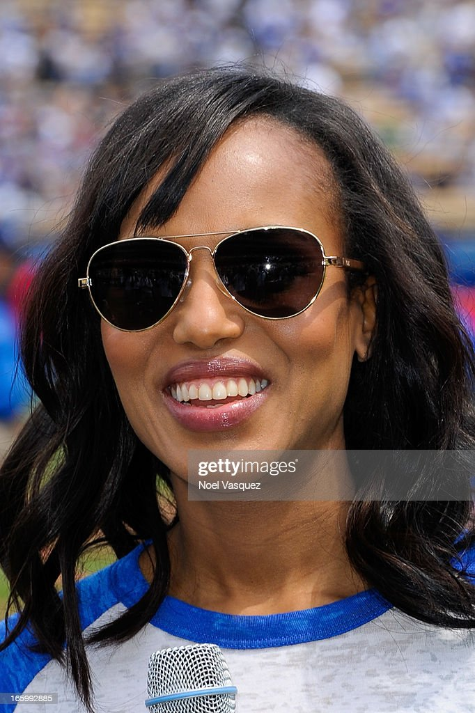 Kerry Washington, from the television show 'Scandal', announces the starting lineup at a baseball game between the Pittsburgh Pirates and the Los Angeles Dodgers at Dodger Stadium on April 7, 2013 in Los Angeles, California.