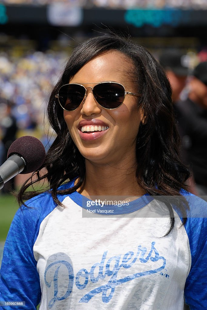 <a gi-track='captionPersonalityLinkClicked' href=/galleries/search?phrase=Kerry+Washington&family=editorial&specificpeople=201534 ng-click='$event.stopPropagation()'>Kerry Washington</a>, from the television show 'Scandal', announces the starting lineup at a baseball game between the Pittsburgh Pirates and the Los Angeles Dodgers at Dodger Stadium on April 7, 2013 in Los Angeles, California.