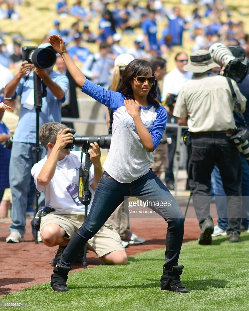 <a gi-track='captionPersonalityLinkClicked' href=/galleries/search?phrase=Kerry+Washington&family=editorial&specificpeople=201534 ng-click='$event.stopPropagation()'>Kerry Washington</a>, from the television show 'Scandal', attends a baseball game between the Pittsburgh Pirates and the Los Angeles Dodgers at Dodger Stadium on April 7, 2013 in Los Angeles, California.