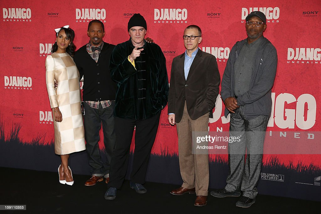 Kerry Washington, Jamie Foxx, Quentin Tarantino, Christoph Waltz and Samuel L. Jackson attend 'Django Unchained' Berlin Photocall at Hotel de Rome on January 8, 2013 in Berlin, Germany.