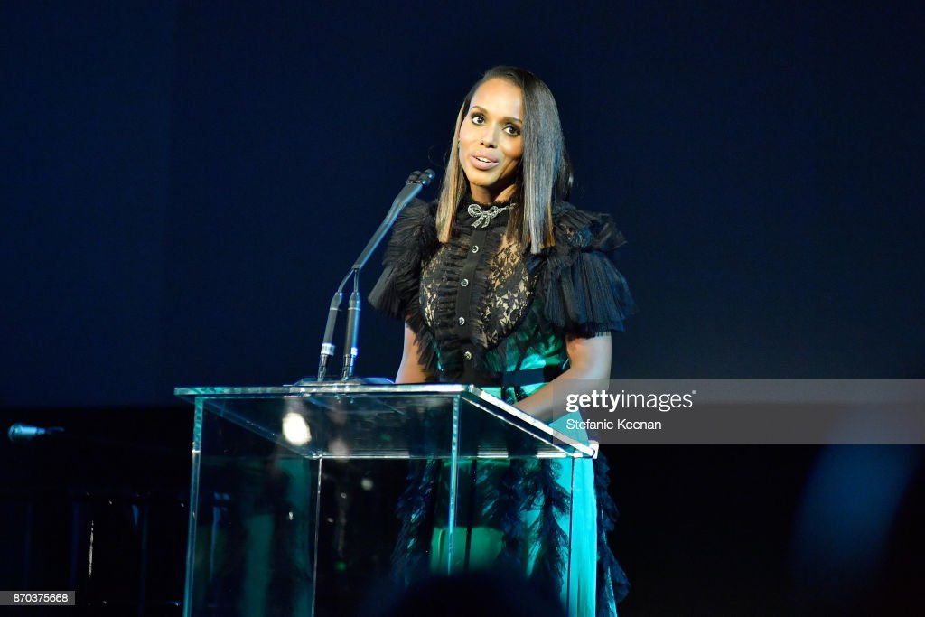 Kerry Washington, wearing Gucci, speaks onstage during the 2017 LACMA Art + Film Gala Honoring Mark Bradford and George Lucas presented by Gucci at LACMA on November 4, 2017 in Los Angeles, California.