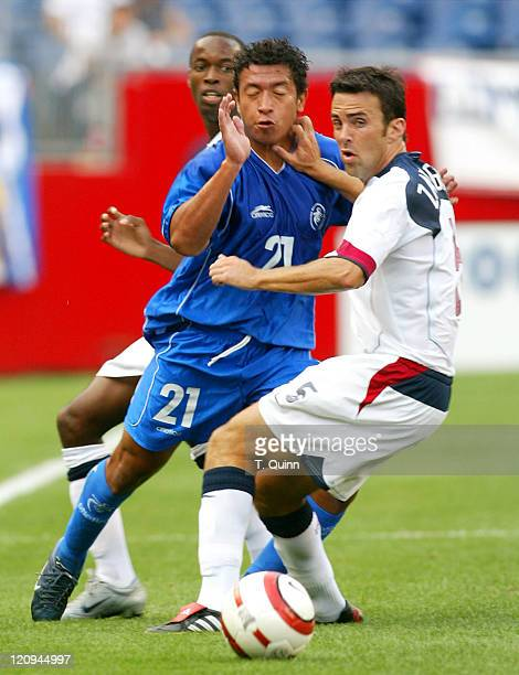 Kerry Zavagnin of the United States checks Denis Alas of El Salvador during the 2006 World Cup Qualifying game at Gillette Stadium in Foxboro...