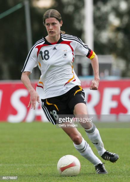 Kerstin Garefrekes runs with the ball during the Women Algarve Cup match between Germany and China at the Municipal stadium on March 6 2009 in...