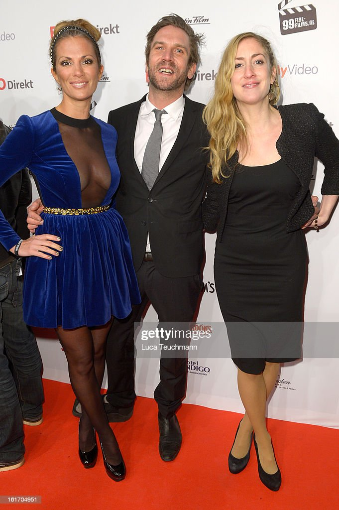 Kerstin Linnartz, Peer Kusmagk and Isabella Recke attend the 5th '99Fire-Films-Award' - Red Carpet Arrivals at Admiralspalast on February 14, 2013 in Berlin, Germany.