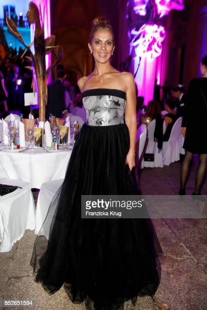 Kerstin Linnartz wearing a dress by Minx during the Minx Fashion Night in favour of 'Sauti Kuu' of Auma Obama at Wuerzburger Residenz on September 23...