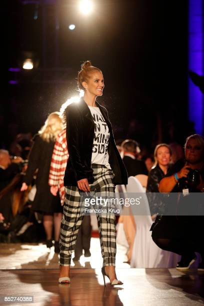 Kerstin Linnartz wearing an outfit by Minx during the Minx Fashion Night in favour of 'Sauti Kuu' of Auma Obama at Wuerzburger Residenz on September...