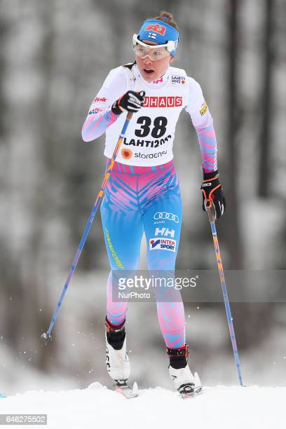 Kerttu Niskanen competes during the women cross country 10 km individual classic competition of the 2017 FIS Nordic World Ski Championships in Lahti...