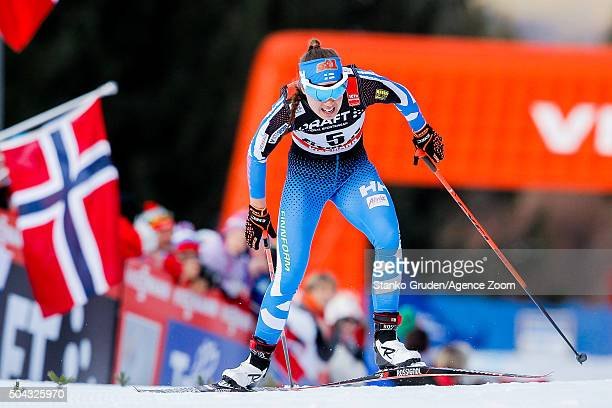 Kerttu Niskanen of Finland competes during the FIS Nordic World Cup Men's and Women's Cross Country Tour de Ski on January 10 2016 in Val di Fiemme...