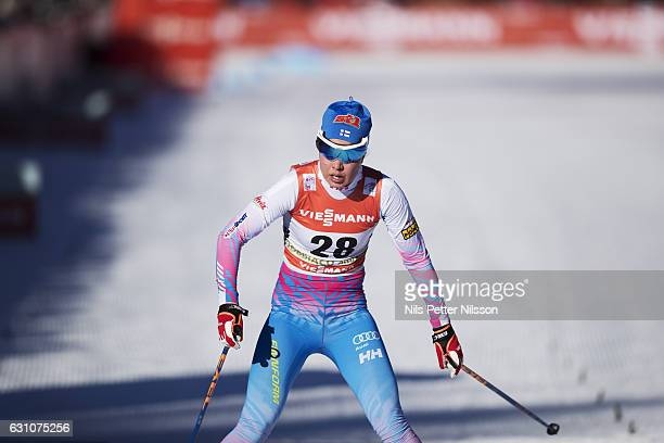 Kerttu Niskanen of Finland competes during the women's 5K F race on January 6 2017 in Toblach Hochpustertal Italy
