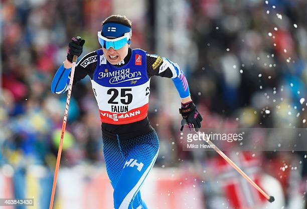 Kerttu Niskanen of Finland competes during the Women's CrossCountry Sprint Qualification during the FIS Nordic World Ski Championships at the Lugnet...