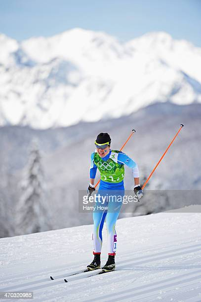 Kerttu Niskanen of Finland competes in the Women's Team Sprint Classic Semiinals during day 12 of the 2014 Sochi Winter Olympics at Laura...