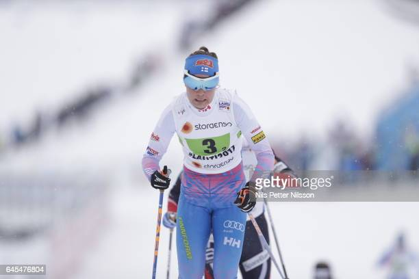 Kerttu Niskanen of Finland during the cross country team sprint during the FIS Nordic World Ski Championships on February 26 2017 in Lahti Finland