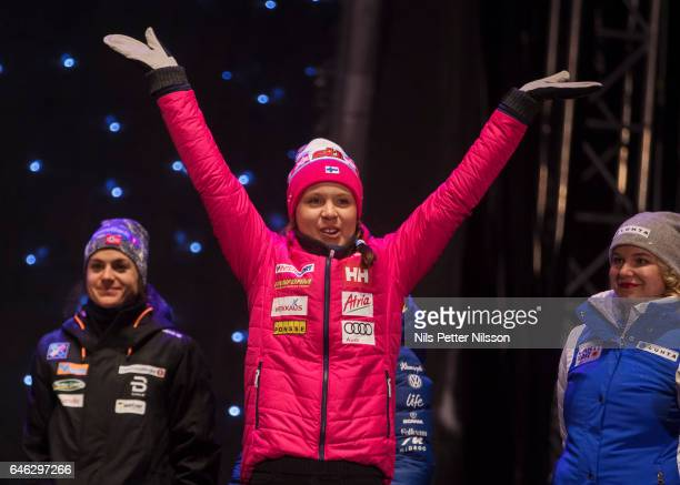 Kerttu Niskanen of Finland during the medal ceremony following the women's cross country distance during the FIS Nordic World Ski Championships on...