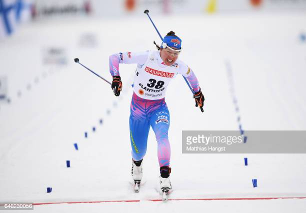 Kerttu Niskanen of Finland finishes in the Women's 10km Cross Country during the FIS Nordic World Ski Championships on February 28 2017 in Lahti...