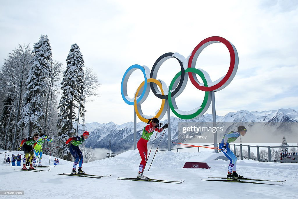 Kerttu Niskanen of Finland Justyna Kowalczyk of Poland Julia Ivanova of Russia and Denise Herrmann of Germany compete in the Women's Team Sprint...