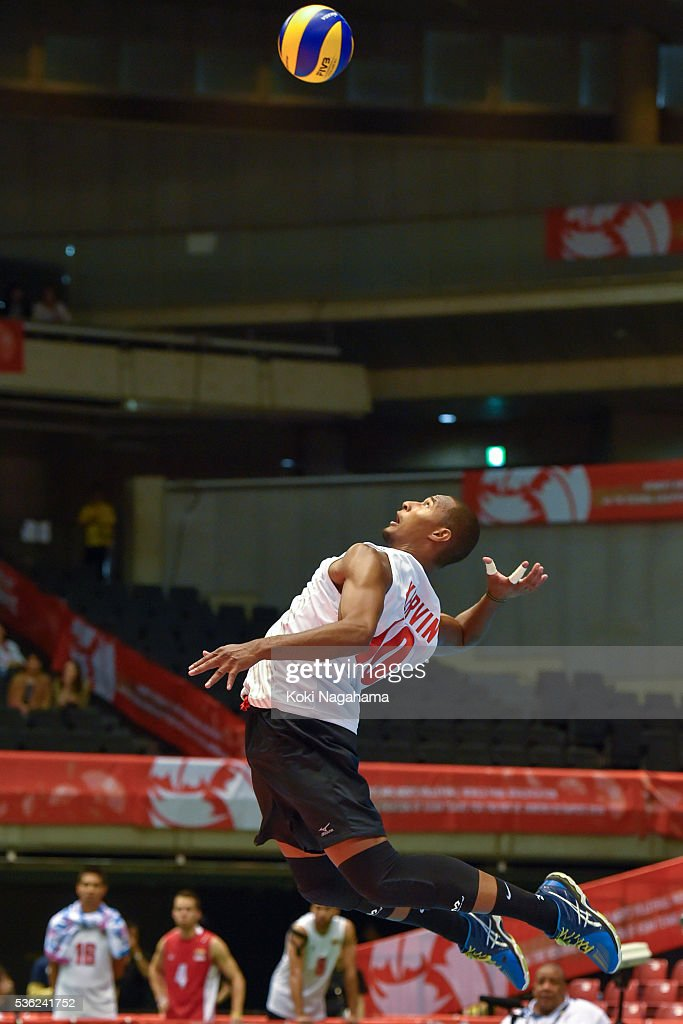 Kervin Martin Pinerua Urbina #10 of Venezuela serves the ball during the Men's World Olympic Qualification game between Venezuela and Canada at Tokyo Metropolitan Gymnasium on June 1, 2016 in Tokyo, Japan.