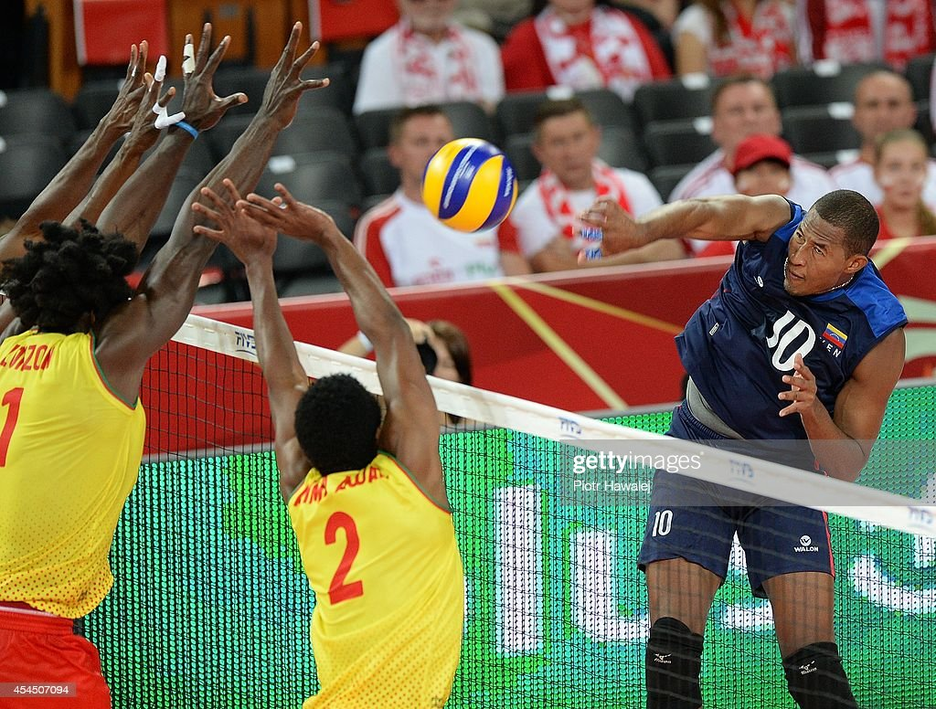 Kervin Pinerua of Venezuela spikes the ball during the FIVB World Championships match between Venezuela and Cameroon on September 2, 2014 in Wroclaw, Poland.