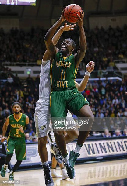 Kerwin Okoro of the Norfolk State Spartans shoots the ball against the Purdue Boilermakers at Mackey Arena on December 21 2016 in West Lafayette...