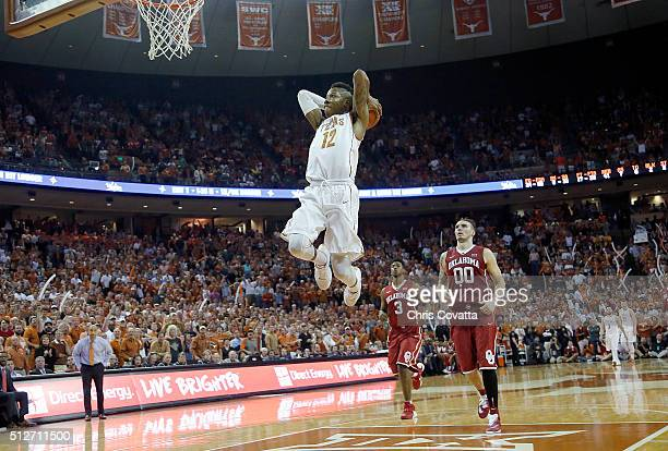 Kerwin Roach Jr #12 of the Texas Longhorns dunks the ball against the Oklahoma Sooners at the Frank Erwin Center on February 27 2016 in Austin Texas