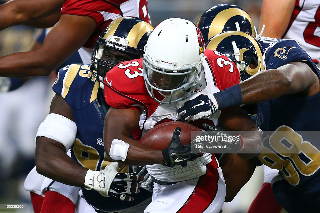 Kerwynn Williams #33 of the Arizona Cardinals runs the ball in the third quarter against the St. Louis Rams during their game at Edward Jones Dome on December 11, 2014 in St Louis, Missouri.