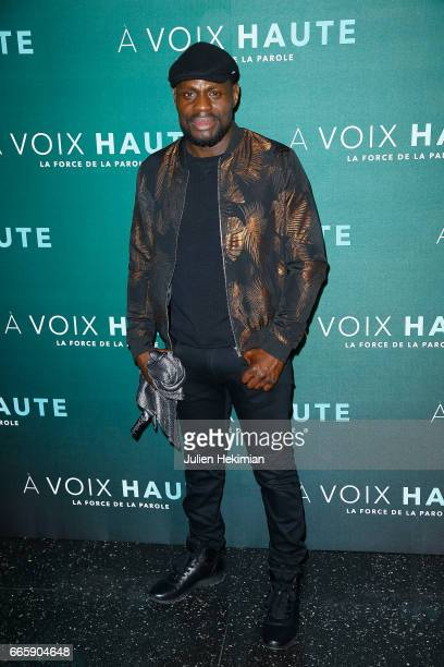 Kery James attends 'A voix haute' documentary screening Premiere at Cinema Max Linder on April 7 2017 in Paris France