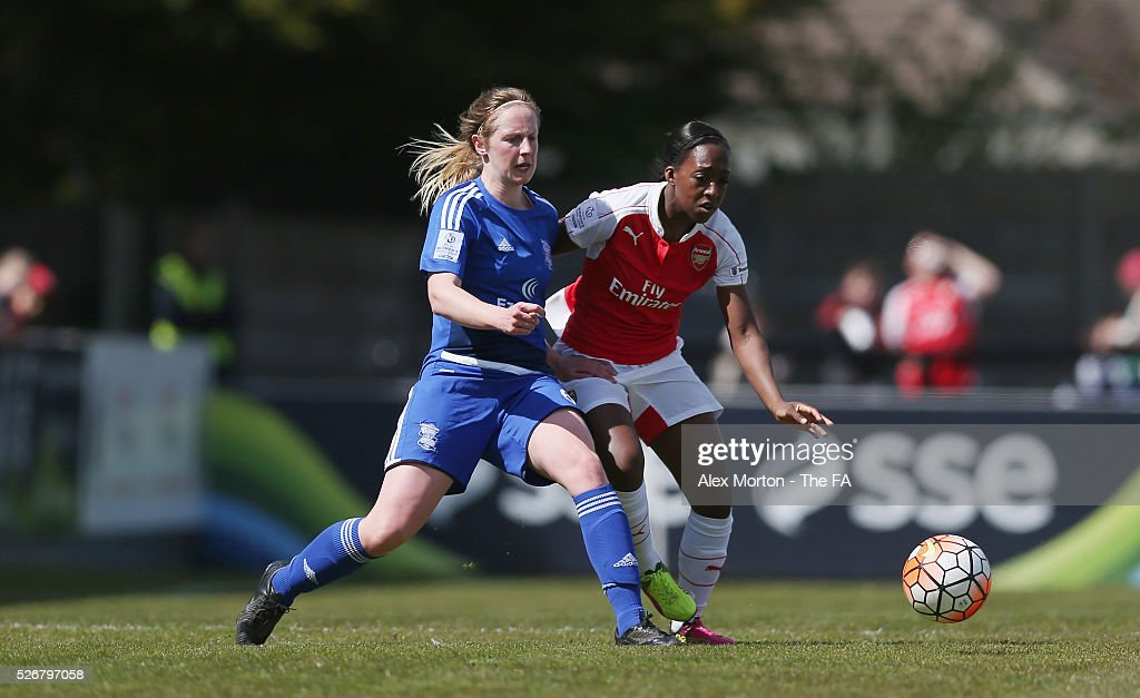 Kerys Harrop of Birmingham and Dan Carter of Arsenal during the WSL match between Arsenal Ladies and Birmingham City Ladies at Meadow Park on May 1, 2016 in Borehamwood, England.