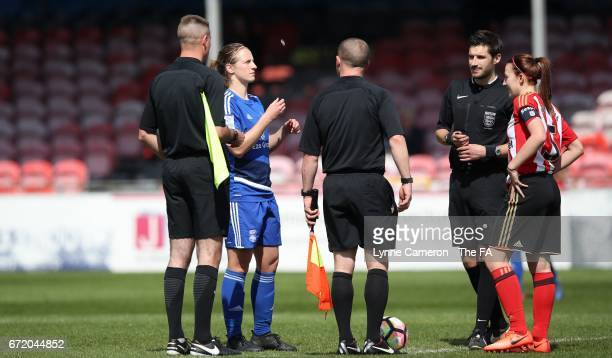Kerys Harrop of Birmingham City and Stephanie Bannon of Sunderland Ladies before the match between Birmingham City and Sunderland Ladies in The WSL...