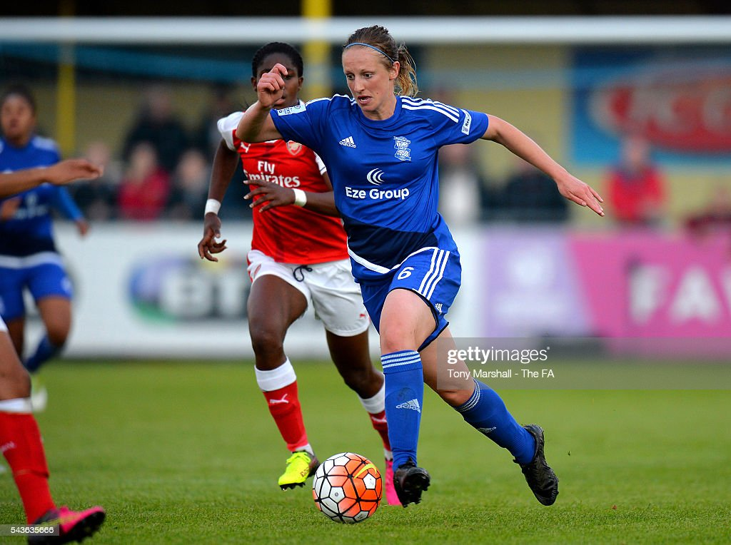Kerys Harrop of Birmingham City Ladies pushes forward during the WSL match between Birmingham City Ladies and Arsenal Ladies FC at Automated Technology Stadium on June 29, 2016 in Solihull, England.