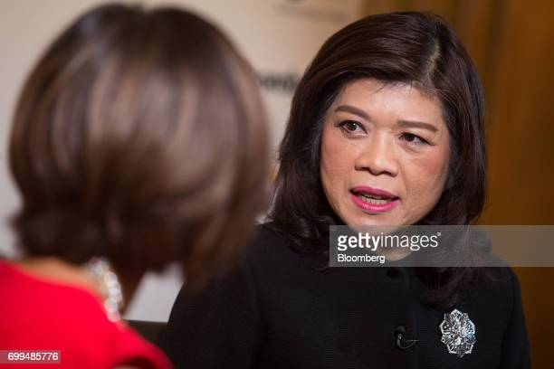 Kesara Manchusree president of the Stock Exchange of Thailand speaks during an interview on the sidelines of the Thailand's Big Strategic Move forum...