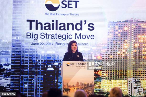 Kesara Manchusree president of the Stock Exchange of Thailand speaks during the Thailand's Big Strategic Move forum in Bangkok Thailand on Thursday...