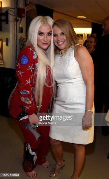 Kesha and Katie Couric attend the National Night Of Laughter And Song event hosted by David Lynch Foundation at the John F Kennedy Center for the...