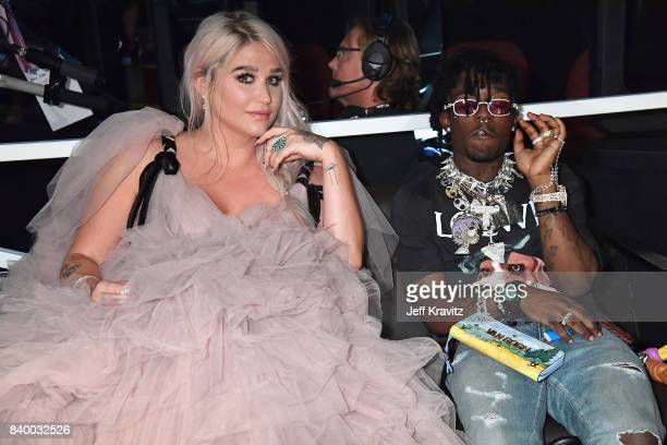 Kesha and Lil Uzi Vert watch the 2017 MTV Video Music Awards at The Forum on August 27 2017 in Inglewood California