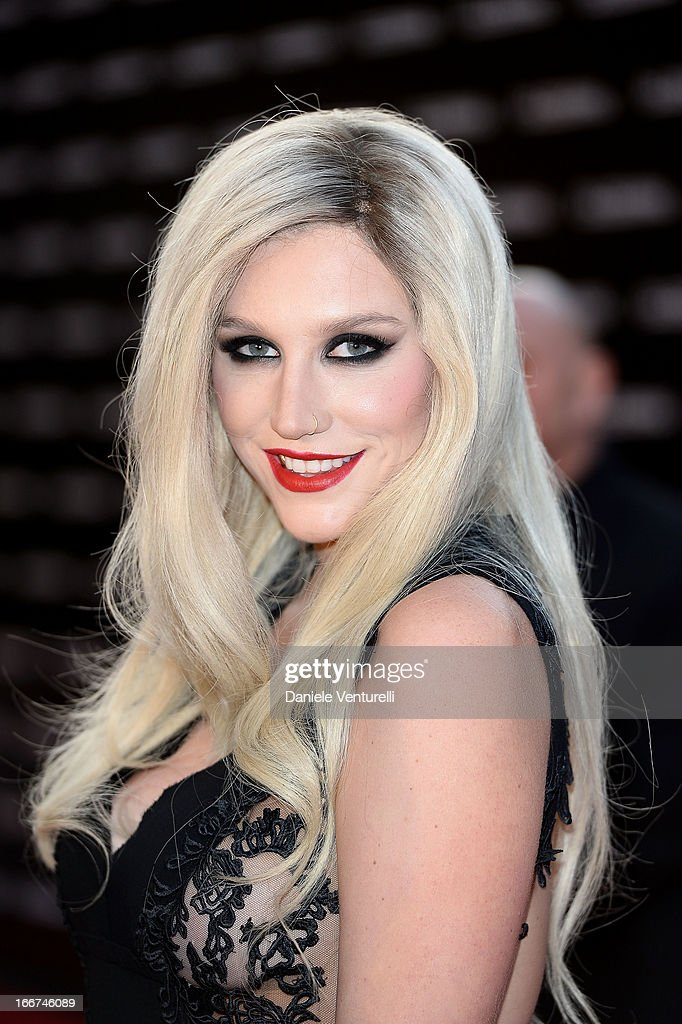 Kesha arrives at the Calzedonia 'Forever Together' show on April 16, 2013 in Rimini, Italy.