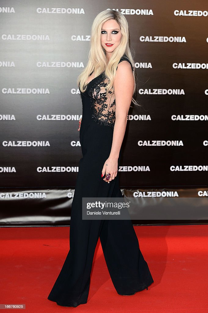 Kesha arrives at the Calzedonia Show Forever Together at Palazzo dei Congressi on April 16, 2013 in Rimini, Italy.
