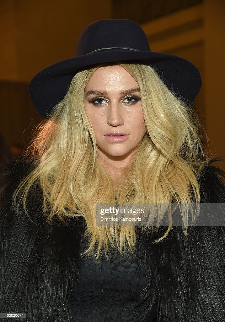 Kesha attends Front Row Backstage MercedesBenz Fashion Week Fall 2015 at Vanderbilt Hall at Grand Central Terminal on February 16 2015 in New York...