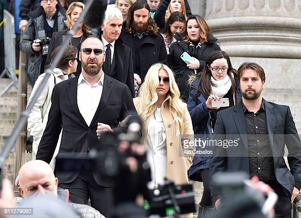 Kesha leaves the New York State Supreme Court on February 19 2016 in New York City Sony has refused to voluntarily release the pop star from her...