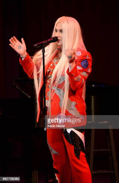 Kesha performs on stage at the National Night Of Laughter And Song event hosted by David Lynch Foundation at the John F Kennedy Center for the...