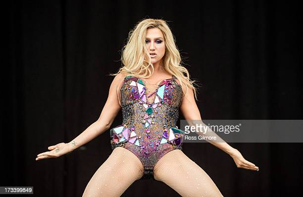 Kesha performs on stage on Day 2 of T In The Park 2013 at Balado on July 13 2013 in Kinross Scotland