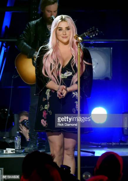 Kesha performs onstage during CMT Crossroads featuring Kesha Old Crow Medicine Show at The Factory on November 21 2017 in Franklin Tennessee