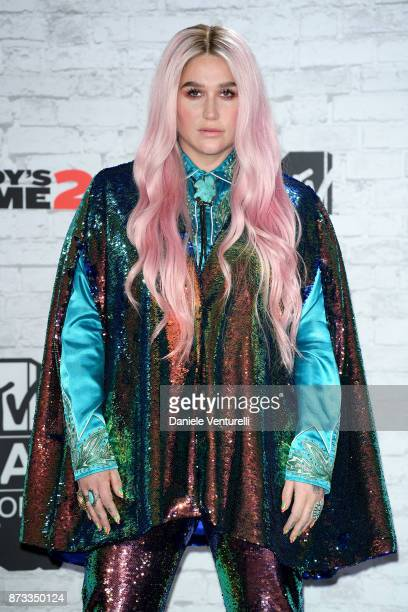 Kesha poses in the winner's room during the MTV EMAs 2017 held at The SSE Arena Wembley on November 12 2017 in London England