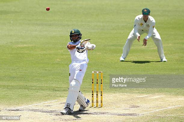 Keshav Maharaj of South Africa bats during day four of the First Test match between Australia and South Africa at the WACA on November 6 2016 in...