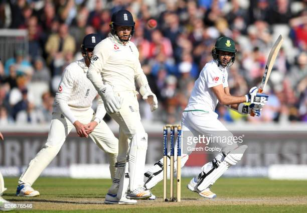 Keshav Maharaj of South Africa bats during day two of the 4th Investec Test between England and South Africa at Old Trafford on August 5 2017 in...