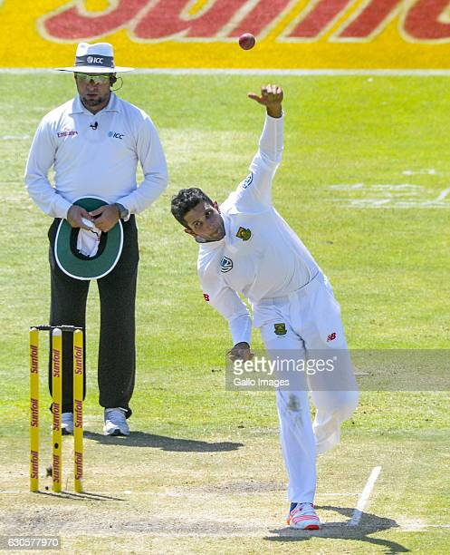 Keshav Maharaj of South Africa bowling during day 2 of the 1st Test match between South Africa and Sri Lanka at St George's Park on December 27 2016...