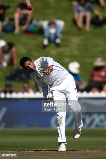 Keshav Maharaj of South Africa bowls during day one of the Test match between New Zealand and South Africa at Basin Reserve on March 16 2017 in...