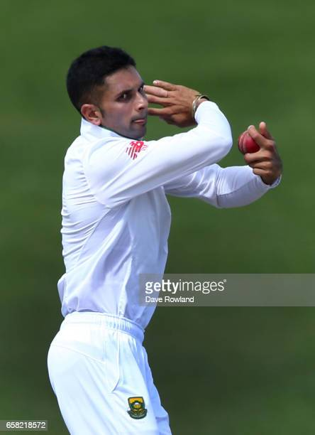 Keshav Maharaj of South Africa bowls during day three of the Test match between New Zealand and South Africa at Seddon Park on March 27 2017 in...