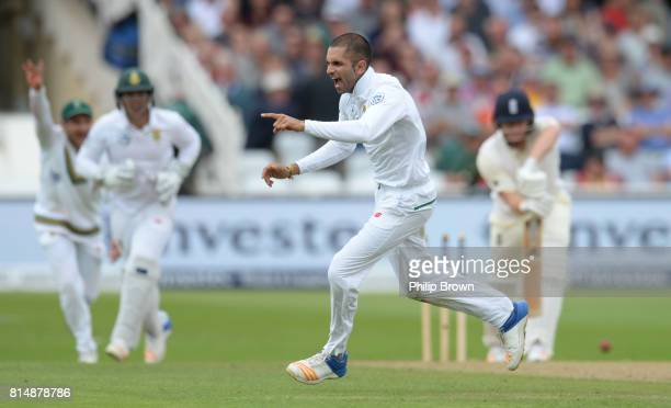 Keshav Maharaj of South Africa celebrates after dismissing Jonny Bairstow of England during the second day of the 2nd Investec Test match between...