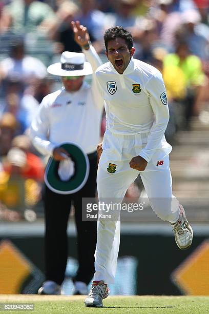 Keshav Maharaj of South Africa celebrates after dismissing Steve Smith of Australia without scoring during day two of the First Test match between...