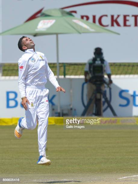 Keshav Maharaj of South Africa celebrates after taking a wicket during day 5 of the 1st Sunfoil Test match between South Africa and Bangladesh at...